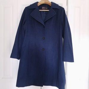 ANNE KLEIN Wool Cashmere Coat Blue L